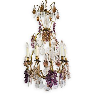 French Bronze & Crystal Grape Cluster Chandelier