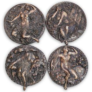 (4Pc) Four Seasons Figural Bronze Plaque Set