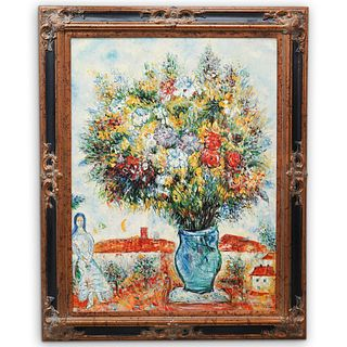 """After Marc Chagall (Russian-French, 1887-1985) """"In The Garden"""" Oil On Canvas"""