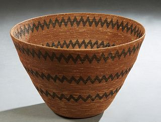 Large Southwestern Native American Open Basket, possibly Apache, early to mid 20th c., with a dyed zig-zag pattern, woven with dried willow and cotton