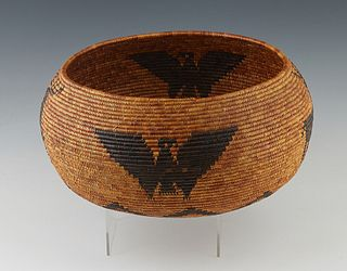 Southwestern Native American Open Basket, possibly Apache, 20th c., with bird and deer motifs, the interior of the basket with a flower/star pattern,