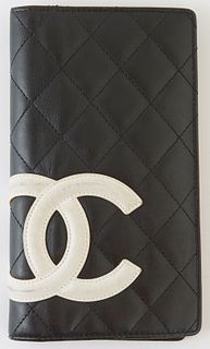 """Chanel Cambon Black and Neon Pink Quilted Leather Bifold Wallet, c. 2009-2010, the calf leather with white """"CC"""" logo sewn on exterior, opening to a ca"""