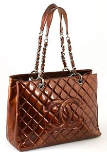 Chanel Metallic Bronze Patent Quilted Leather Grand Shopping Tote, c. 2008-2009, the straps with silver chain interlaced with metallic bronze patent l