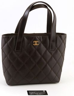 """Chanel Chocolate Brown Calf Leather Wild Stitching Logo Tote, c. 2003, with double leather handles and gold hardware, the interior lined in """"CC"""" dark"""