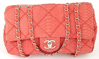 Chanel Coral Red Python Quilted Leather Mademoiselle Single Flap Shoulder Bag, c. 2010-2011, the adjustable silver chain strap interlaced with coral r