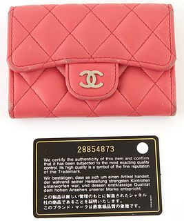 """Chanel Pink Quilted Leather Flap Coin Purse, c. 2019, the calf leather with silver """"CC"""" logo on snap, opening to coin pouch and one card holder, the e"""
