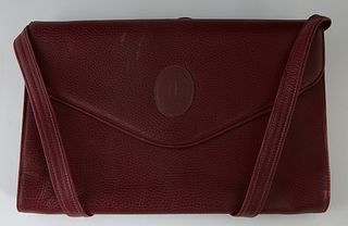 Vintage Cartier Maroon Leather Envelope Shoulder Bag, the interior of the bag lined in maroon silk with a divider down the middle of the bag and a sid