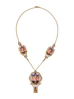 EGYPTIAN REVIVAL, YELLOW GOLD, ENAMEL AND DIAMOND NECKLACE