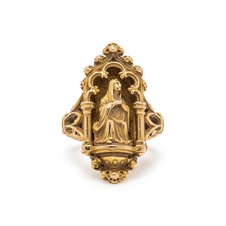 JULES & LOUIS WIESE, GOTHIC REVIVAL, YELLOW GOLD RING