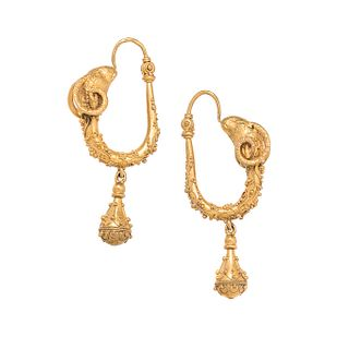 ARCHAEOLOGICAL REVIVAL, YELLOW GOLD EARRINGS