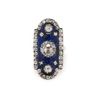 ANTIQUE, DIAMOND AND BLUE GLASS RING