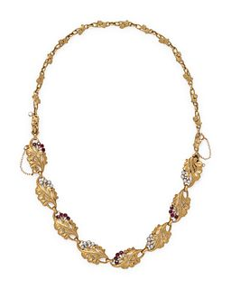 FRENCH, ART NOUVEAU, YELLOW GOLD, RUBY AND PEARL CONVERTIBLE NECKLACE