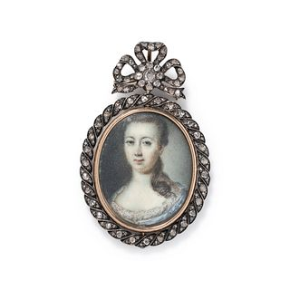 ANTIQUE, DIAMOND REVERSIBLE PORTRAIT MINIATURE BROOCH