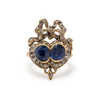 ANTIQUE, SAPPHIRE AND DIAMOND RING