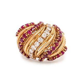 VAN CLEEF & ARPELS, DIAMOND AND RUBY RING