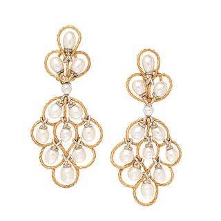 BUCCELLATI, BICOLOR GOLD AND CULTURED PEARL CONVERTIBLE EARCLIPS