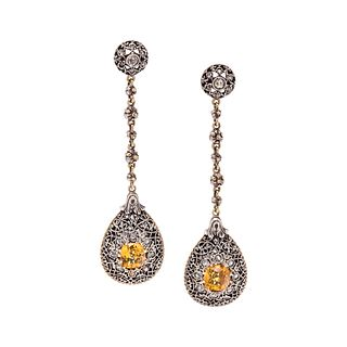 MARIO BUCCELLATI, YELLOW SAPPHIRE AND DIAMOND EARRINGS