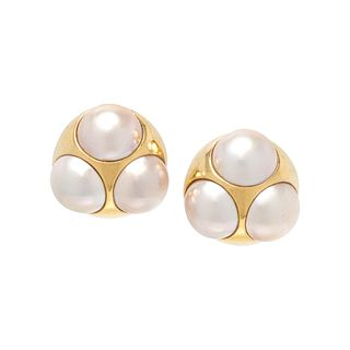 TIFFANY & CO., PALOMA PICASSO, YELLOW GOLD AND CULTURED MABE PEARL EARCLIPS