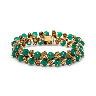 VAN CLEEF & ARPELS, YELLOW GOLD AND CHRYSOPRASE BRACELET