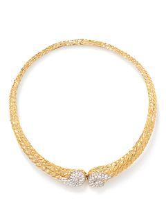DAVID WEBB, YELLOW GOLD, PLATINUM AND DIAMOND COLLAR NECKLACE