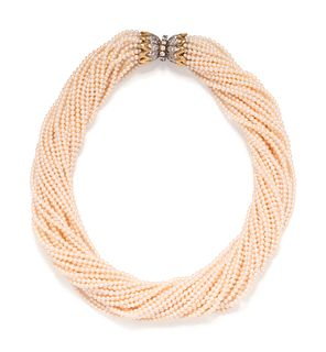 TIFFANY & CO., SCHLUMBERGER, CULTURED PEARL AND DIAMOND TORSADE NECKLACE