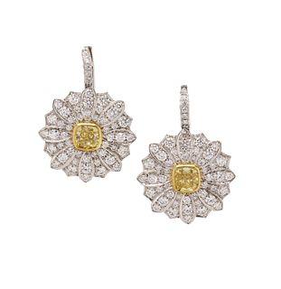TIFFANY & CO., YELLOW DIAMOND AND DIAMOND 'DAISY' EARRINGS