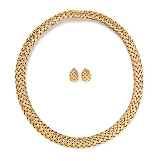 TIFFANY & CO., YELLOW GOLD 'VANNERIE' SET