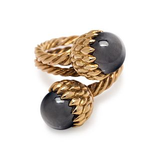 TIFFANY & CO., SCHLUMBERGER, YELLOW GOLD AND HEMATITE 'ACORN' RING