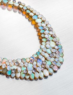 TONY DUQUETTE, OPAL, ROCK CRYSTAL AND MOONSTONE NECKLACE