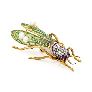 EVELYN CLOTHIER, CULTURED BAROQUE PEARL, DIAMOND AND PLIQUE-A-JOUR ENAMEL GRASSHOPPER BROOCH