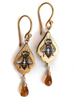 Bee Earrings with Citrine