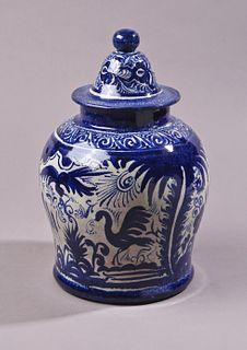 White and Blue Vase with Lid