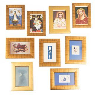 Lote de 9 obras. Enmarcadas Consta de: a) Reproducción de la obra de WILFREDO LAM. Impresión. 20 x 15 cm Otros.