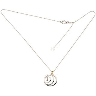 NECKLACE AND PENDANT WITH DIAMONDS IN 18K PINK AND WHITE GOLD, DAMIANI  5 brilliant cut diamonds ~0.03 ct