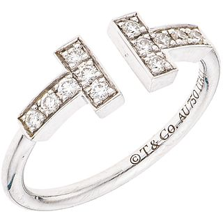 RING WITH DIAMONDS IN 18K WHITE GOLD, TIFFANY & CO., TIFFANY T WIRE COLLECTION 12 Brilliant cut diamonds Size:4½