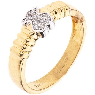 RING WITH DIAMONDS IN 18K YELLOW GOLD, TOUS 10 Brilliant cut diamonds ~0.06 ct. Weight: 4.0 g. Size: 7