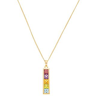 CHOKER AND PENDANT WITH SEMIPRECIOUS GEMS AND DIAMOND IN 18K YELLOW GOLD, H. STERN Weight: 4.1 g