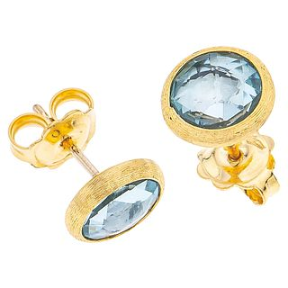 PAIR OF STUD EARRINGS WITH TOPAZ IN 18K YELLOW GOLD, MARCO BICEGO 2 Round cut tozapes ~2.50 ct. Weight: 2.6 g