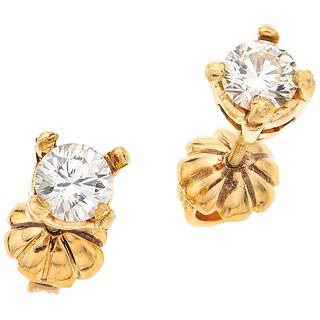 PAIR OF STUD EARRINGS WITH DIAMONDS IN 14K YELLOW GOLD 2 Brilliant cut diamonds ~1.0 ct Clarity: VS2-SI1 Color: K-L. Weight: 3.1 g