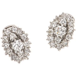 PAIR OF EARRINGS WITH DIAMONDS IN PALLADIUM SILVER 2 Antique cut diamonds~0.68 ct Clarity: SI2-I1, 28 Antique cut diamonds~1.96ct