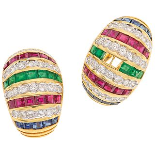 PAIR OF EARRINGS WITH EMERALDS, RUBIES, SAPPHIRES AND DIAMONDS IN 18K YELLOW GOLD 12 Emeralds, 24 rubies, 20 sapphires and 52 diamonds