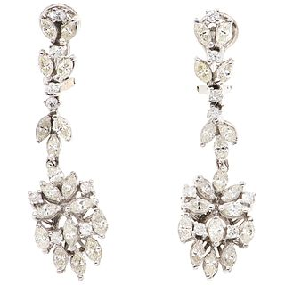 PAIR OF EARRINGS WITH DIAMONDS IN PALLADIUM SILVER 36 Marquise cut diamonds ~3.60 ct and 16 Brilliant cut diamonds ~0.48 ct