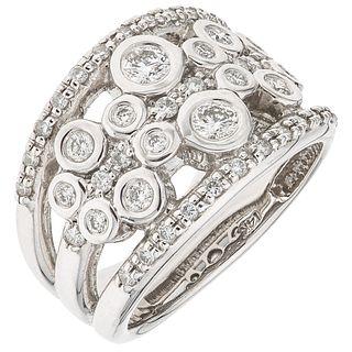 RING WITH DIAMONDS IN 14K WHITE GOLD 46 Brilliant cut diamonds ~0.75 ct. Size: 7