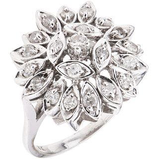 RING WITH DIAMONDS IN 14K WHITE GOLD 21 8x8 and brilliant cut diamonds ~0.55 ct. Weight: 6.1 g. Size: 6