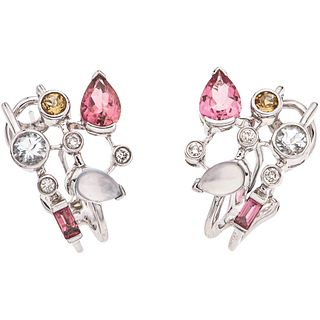 PAIR OF EARRINGS WITH SEMI-PRECIOUS GEMS AND DIAMONDS IN 14K WHITE GOLD 10 semi-precious gems~2.10 ct and 6 Brilliant cut diamonds
