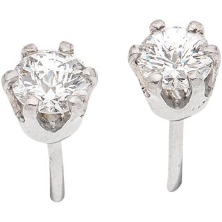 PAIR OF STUD EARRINGS WITH DIAMONDS IN PLATINUM 2 Brilliant cut diamonds ~0.52 ct. Clarity: SI1-SI2 Color: I-J. Weight: 1.3 g