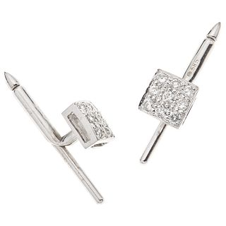 "PAIR OF CUFFLINKS WITH DIAMONDS IN 14K WHITE GOLD 18 Brilliant cut diamonds ~0.54 ct. Weight: 3.8 g. Size: 0.27 x 0.27"" (0.7 x 0.7 cm)"