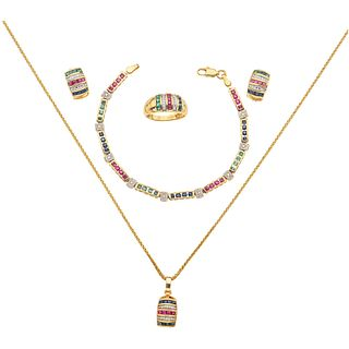 SET OF CHOKER, PENDANT, BRACELET, RING AND PAIR OF EARRINGS WITH EMERALDS, RUBIES, SAPPHIRES AND DIAMONDS IN 14K YELLOW GOLD