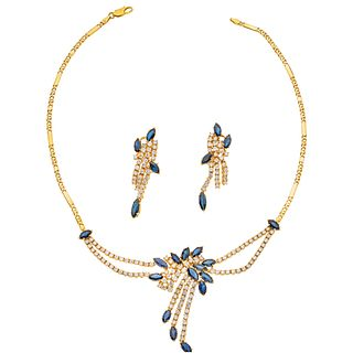 SET OF CHOKER AND PAIR OF EARRIGNS WITH SAPPHIRES AND DIAMONDS IN 18K AND 14K YELLOW GOLD  23 sapphires and 163 diamonds
