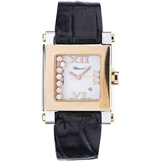 CHOPARD HAPPY SPORT LADY WATCH WITH DIAMONDS IN STEEL AND 18K PINK GOLD REF. 8495  Movement: quartz